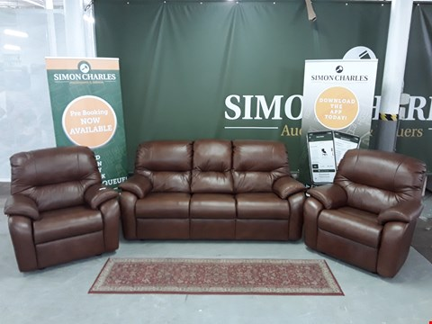 Lot 8017 QUALITY DESIGNER BRITISH MADE WOODEN FRAME BROWN LEATHER 3 SEATER SOFA WITH 2 MATCHING ARMCHAIRS