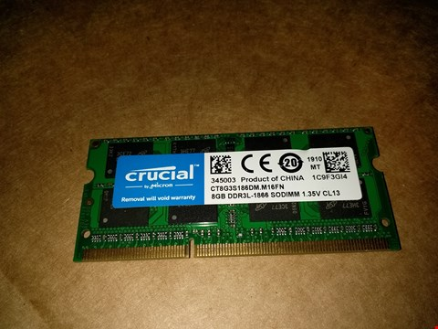 Lot 18761 CRUCIAL 8GB DDR3 RAM