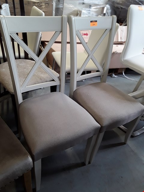 Lot 104 PAIR OF DESIGNER LINEA X BACK DINING CHAIRS ( SEAT UPHOLSTERY NOT MATCHING)