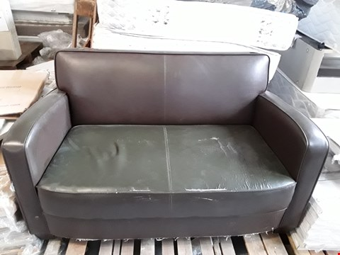 Lot 102 DESIGNER DARK BROWN FAUX LEATHER 2 SEATER SOFA