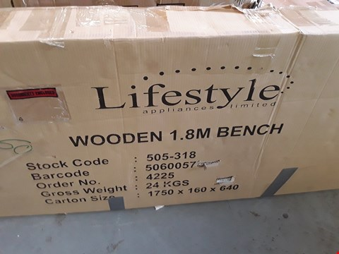 Lot 5284 BOXED LIFESTYLE WOODEN 1.8M BENCH (1 BOX)