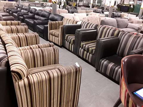 Lot 10077 LOT OF APPROXIMATELY 8 ASSORTED STRIPED FABRIC AND FAUX LEATHER ARMCHAIRS