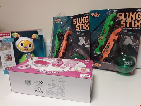 Lot 3378 BOX OF FOUR ITEMS, 2 × SLING STIX, FISHER PRICE BEAT BOW WOW & TALKING SYLVIE DOLL