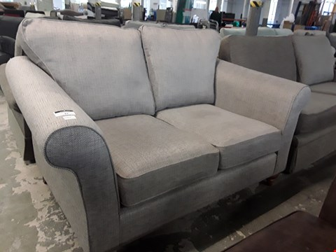 Lot 82 QUALITY BRITISH DESIGNER SOMERSET GREY FABRIC TWO SEATER SOFA
