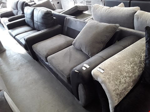 Lot 26 DESIGNER BLACK FAUX LEATHER AND GREY FABRIC SOFA SECTION