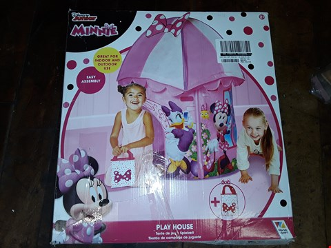 Lot 1777 LOT OF 3 ITEMS TO INCLUDE LIT WOOD CANDLE BRIDGE SCENE, DISNEY PRINCESS PORTABLE DVD PLAYER AND DISNEY JUNIOR MINNIE PLAY HOUSE