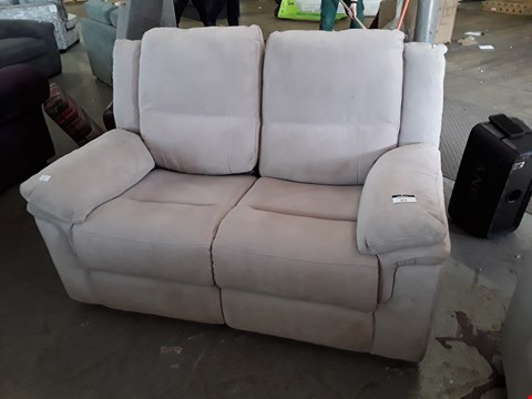 Lot 353 DESIGNER BEIGE FABRIC MANUAL RECLINING 2 SEATER SOFA