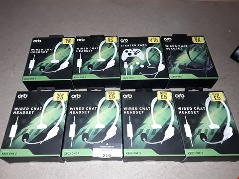 Lot 219 LOT OF 8 BOXED BRAND NEW ORB GAMING ITEMS TO INCLUDE WIRED CHAT HEADSET IN WHITE OR BLACK AND ORB GAMING STARTER PACK