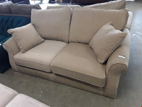 Lot 2007 QUALITY BRITISH DESIGNER BEIGE FABRIC TWO SEATER SOFA WITH BOLSTER CUSHIONS