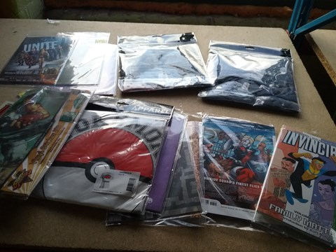 Lot 2478 A BOX OF APPROXIMATELY 20 BRAND NEW ASSORTED ITEMS TO INCLUDE A MEDIUM POKEMON TRAINER T-SHIRT, A INVINCIBLE FAMILY MATTERS MAGAZINE AND A STREET FIGHTER VINYL STICKER KIT