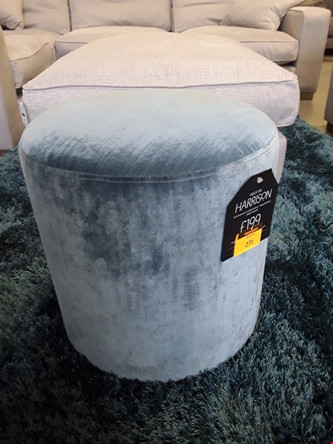 Lot 271 QUALITY BRITISH DESIGNER HARRISON TALL DRUM FOOTSTOOL UPHOLSTERED IN CRUSHED VELVET DRAGON WING FABRIC RRP £199