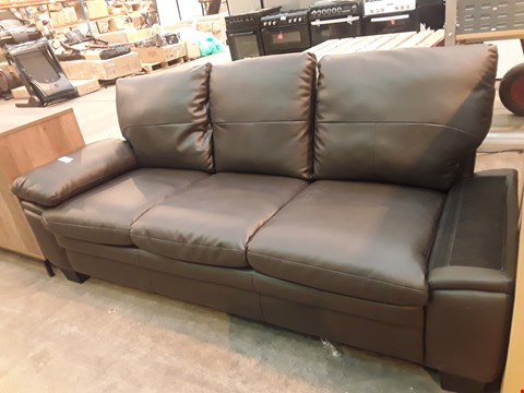 Lot 516 DESIGNER BROWN FAUX LEATHER THREE SEATER SOFA