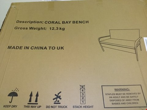 Lot 1011 BOXED CORAL BAY BENCH - BROWN RRP £199.99