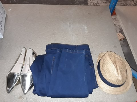 Lot 9325 LOT OF 4 BOXES OF APPROXIMATELY 80 ITEMS OF CLOTHING TO INCLUDE BLUE TIGHT FIT JEANS FOR WOMEN, VARIOUS PAIRS OF POINTED GOLDEN LOAFERS SHOES FOR WOMEN, ECT
