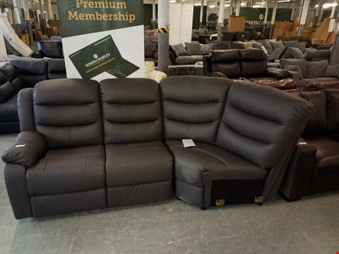 Lot 42 DESIGNER GREY FAUX LEATHER MANUAL RECLINING CORNER SOFA SECTION
