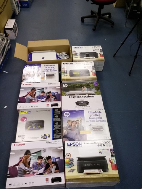 Lot 7524 LOT OF APPROXIMATELY 10 ASSORTED PRINTERS TO INCLUDE EPSON EXPRESSION HOME XP-2100, CANON PIXMA T23350, HP ENVY 5010, ETC...