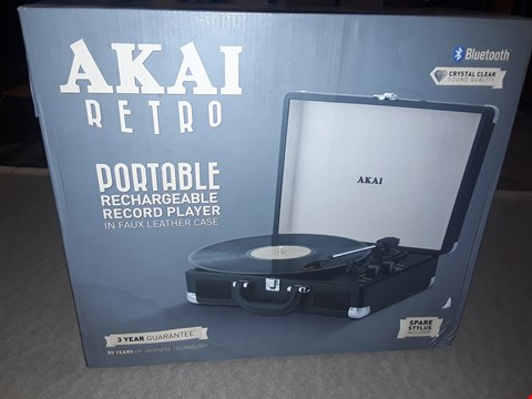 Lot 2054 AKAI BLUETOOTH PORTABLE RECHARGEABLE RECORD PLAYER