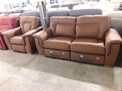Lot 12526 QUALITY BRITISH MADE, HARDWOOD FRAMED TAN LEATHER POWER RECLINING 3 SEATER SOFA AND FIXED ARMCHAIR