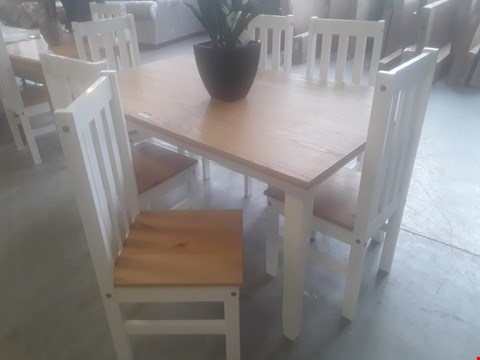 Lot 81 DESIGNER LUDLOW DINING SET, COMPRISING, RECTANGULAR OAK TOPPED DINING TABLE & 6 CHAIRS RRP £199.99