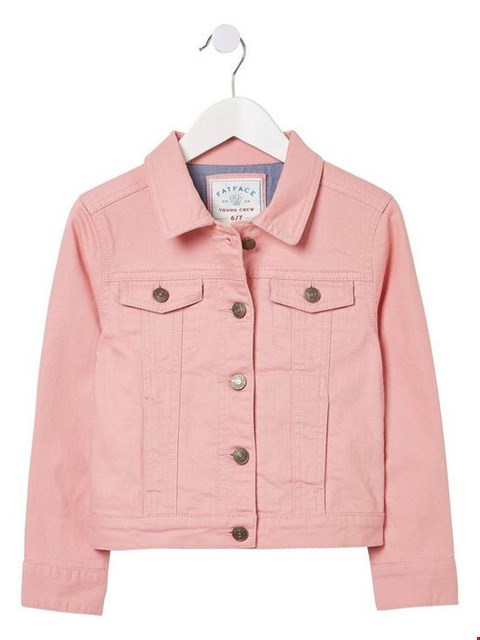 Lot 3511 BRAND NEW FAT FACE GIRLS COLOURED DENIM JACKET - PINK SIZE 10-11 YEARS