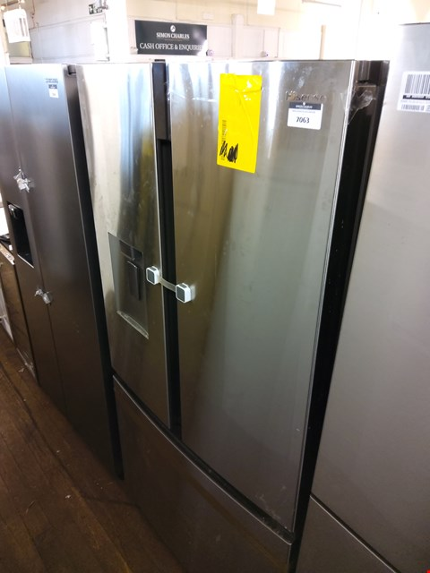 Lot 7063 HISENSE SILVER 2 DOOR 1 DRAW FRIDGE FREEZER WITH WATER DISPENSER
