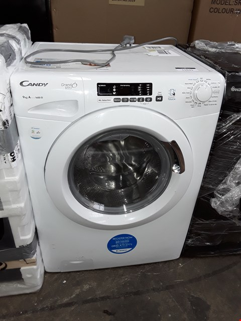 Lot 11041 CANDY GRAND VITA 9KG 1600 SPIN WASHING MACHINE IN WHITE - GVS 169D3/1-80