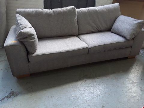 Lot 2063 QUALITY BRITISH DESIGNER DEXTER GREY FABRIC THREE SEATER SOFA WITH BOLSTER CUSHIONS