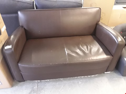 Lot 1068 DESIGNER BROWN FAUX LEATHER 2 SEATER SOFA