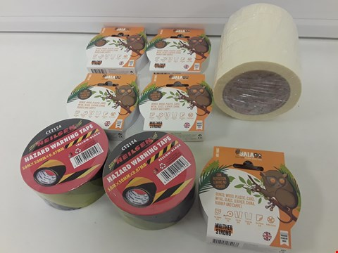 Lot 427 TRAY OF ASSORTED TAPE, INCLUDING, HAZARD FLOOR TAPE, MASKING TAPE & GALA DOUBLE SIDED TAPE. ( TRAY NOT INCLUDES)