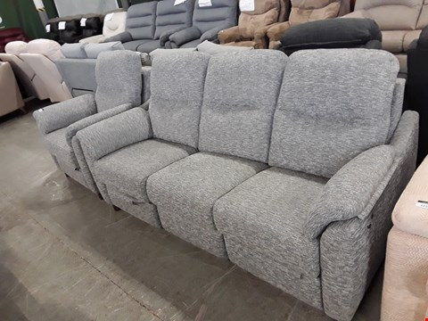 Lot 12513 QUALITY BRITISH MADE, HARDWOOD FRAMED GREY WEAVE FABRIC POWER RECLINING 3 SEATER SOFA AND ARMCHAIR