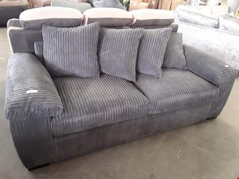 Lot 356 DESIGNER GREY JUMBO CORD 3 SEATER SOFA