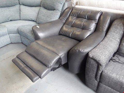 Lot 142 QUALITY BRITISH DESIGNER HARDWOOD FRAMED GREY LEATHER POWER RECLINING VINTAGE STYLE EASY CHAIR