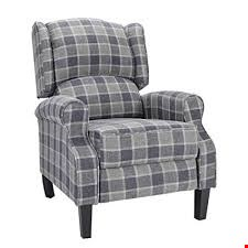 Lot 91 BOXED DESIGNER EATON GREY TARTAN PUSHBACK RECLINING EASY CHAIR RRP £379.99