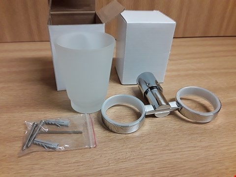 Lot 497 CHROME 2 SECTION MUG HOLDER WITH FROSTED GLASS CUPS