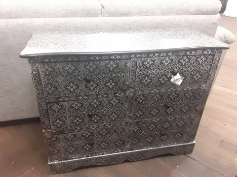 Lot 60 6 DRAWER BLACKENED EMBOSSED CHEST OF DRAWERS RRP £299.00