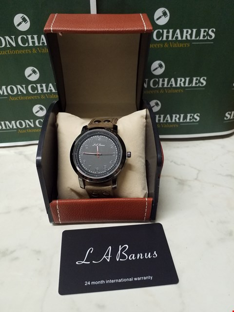 Lot 4565 L. A BANUS BLACK TIMER DIAL STAINLESS STEEL WATCH WITH GREY SUEDE WRIST STRAP