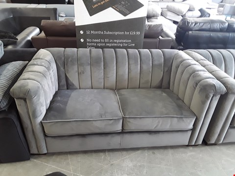 Lot 10 DESIGNER GREY PLUSH VELVET 2 SEATER SOFA