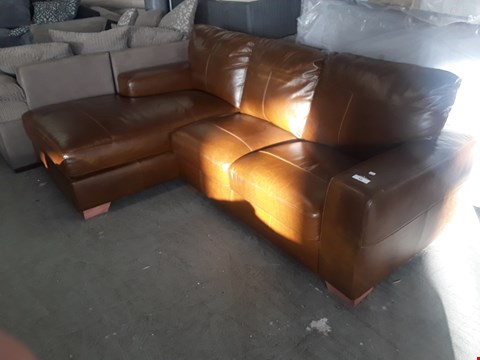 Lot 65 DESIGNER TAN LEATHER CLUB STYLE CHAISE SOFA