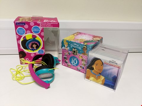 Lot 2064 DISNEY PRINCESS MIXED MY LITTLE LIBRARY AND BARBIE 4 STEREO HEADPHONES RRP £43.98