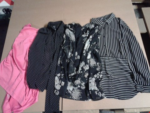Lot 9309 BOX OF APPROXIMATELY 42 WOMEN'S CLOTHING ITEMS TO INCLUDE STRIPE SHIRT, RUFFLE TOP, PUSSYBOW BLOUSE, SOFT JACKET BRIGHT MAGENTA