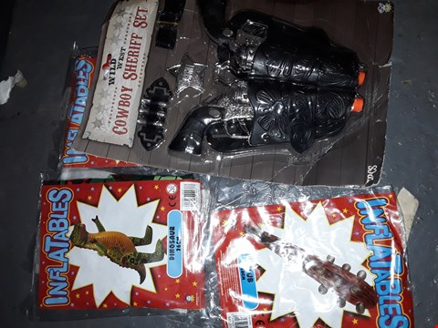 Lot 568 BOX OF INFLATING DINOSAURS,  COWBOY SET ,CAPTAIN JACK GUNS & MORE