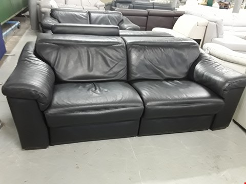 Lot 35 DESIGNER SENSOR QUALITY GRADED BLACK ITALIAN LEATHER RECLINING 3 SEATER SOFA AND FIXED 2 SEATER SOFA WITH ADJUSTABLE HEADRESTS