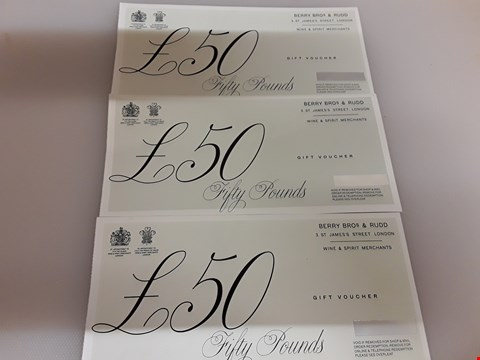 Lot 43 3 BERRY BROS & RUDD GIFT VOUCHERS TOTAL VALUE £150