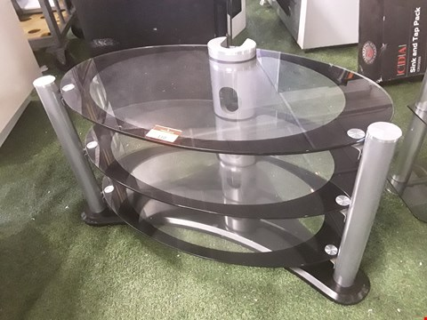 Lot 50 DESIGNER 3 TIER OVAL GLASS TV UNIT
