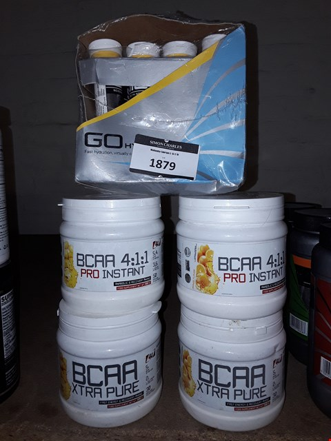 Lot 1879 LOT OF 5 SUPPLEMENTS TO INCLUDE BCAA 4:1:1 PRO INSTANT AND GO HYDRO HYDRATION