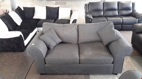 Lot 13 DESIGNER CHARCOAL GREY 2 SEATER SOFA WITH SCATTER CUSHIONS