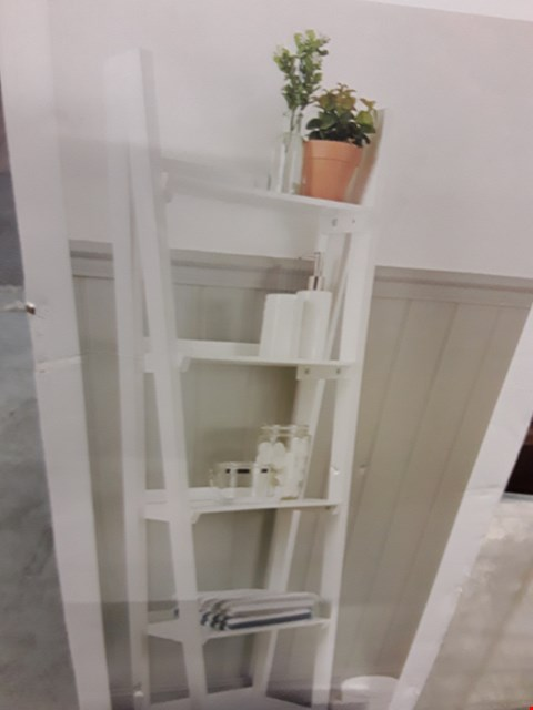 Lot 2016 DESIGNER BOXED WHITE FINISH LADDER SHELVES