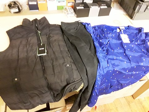 Lot 9130 BOX OF APPROXIMATELY 15 ASSORTED CLOTHING ITEMS TO INCLUDE HUGO BOSS BODY WARMER, SKETCHED PINK TRAINERS AND BLUE PATTERNED DRESS
