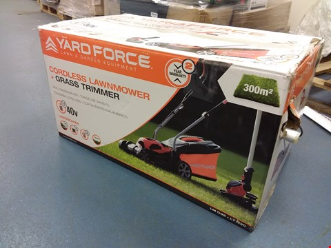 Lot 5386 YARD FORCE CORDLESS LAWNMOWER + GRASS TRIMMER