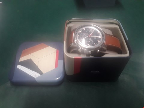 Lot 1012 BOXED FOSSIL MENS CHRONOGRAPH WATCH WITH BROWN LEATHER STRAP  RRP £130